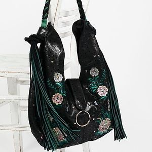 Free People Monarch Embroidered Suede Hobo Bag